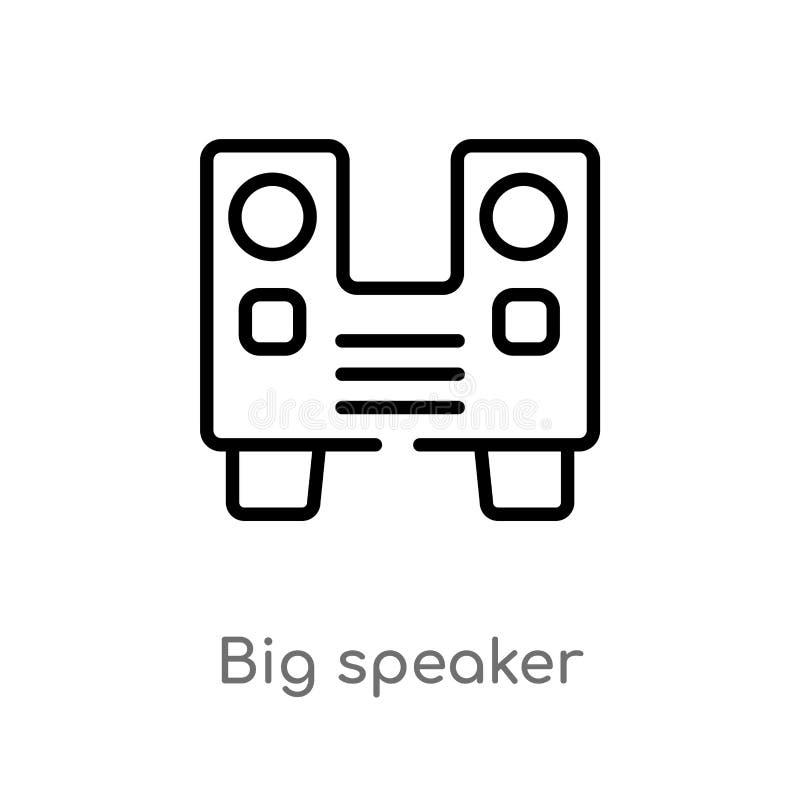 ?cone grande do vetor do orador do esbo?o linha simples preta isolada ilustra??o do elemento do conceito do partido curso edit?ve ilustração stock