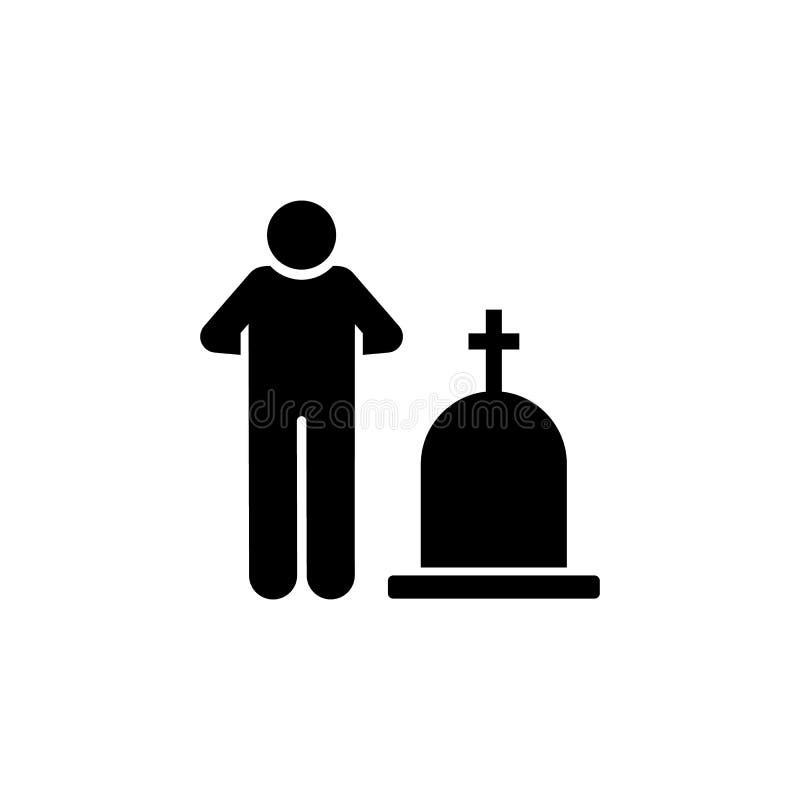 Ícone grave das culturas do funeral do homem Elemento da ilustração da morte do pictograma ilustração do vetor