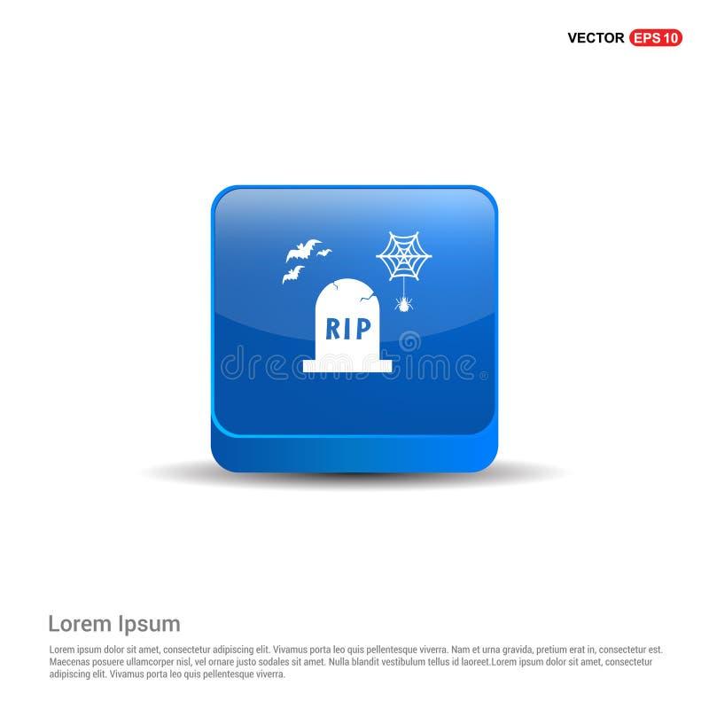 Ícone grave de Dia das Bruxas - botão do azul 3d ilustração do vetor