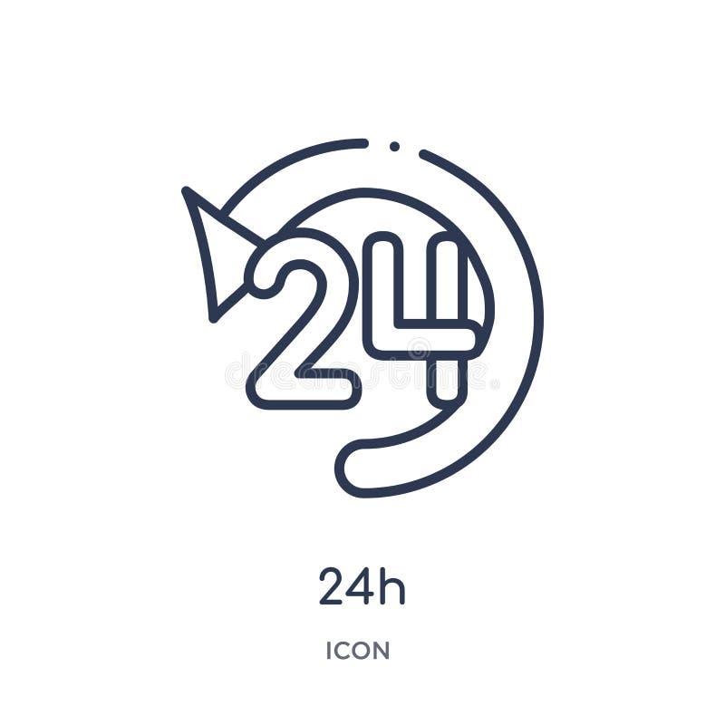 Ícone 24h linear da coleção alerta do esboço Linha fina vetor de 24h isolado no fundo branco ilustração 24h na moda ilustração do vetor