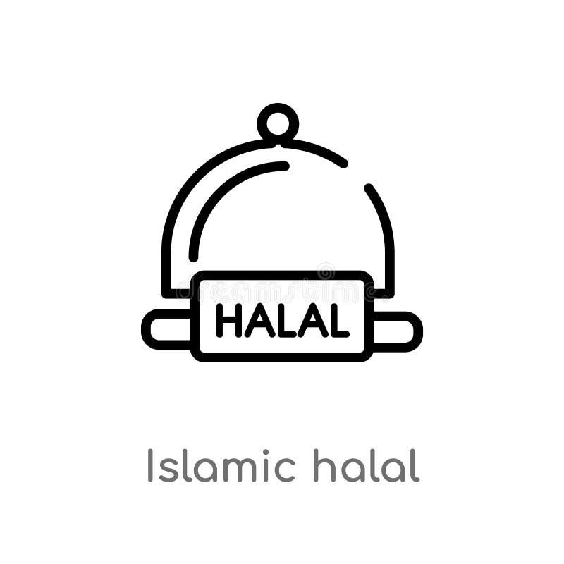 ícone halal islâmico do vetor do esboço linha simples preta isolada ilustração do elemento do conceito religion-2 Curso editável  ilustração stock