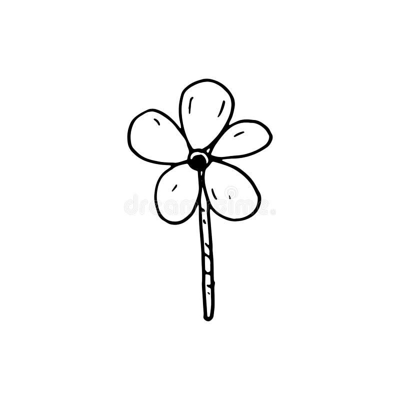 Ícone Handdrawn da flor da garatuja Esboço preto tirado mão Sinal Symb ilustração stock