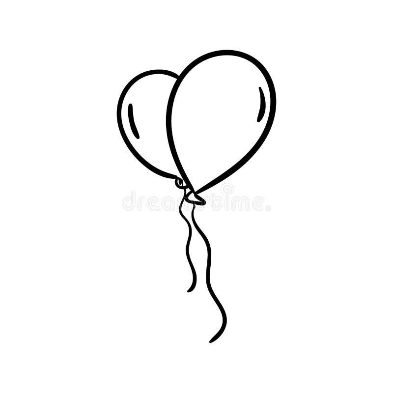 Ícone Handdrawn da garatuja dos balões Esboço preto tirado mão símbolo do sinal Elemento da decoração Fundo branco Isolado Projet ilustração royalty free