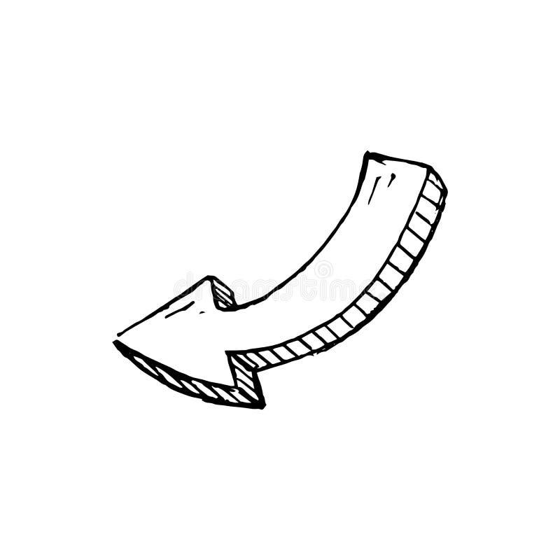 Ícone Handdrawn da garatuja da seta Esboço preto tirado mão Symbo do sinal ilustração royalty free