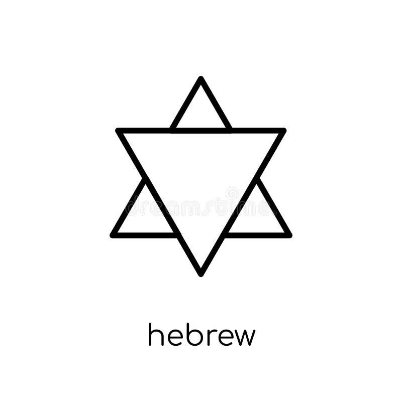 Ícone hebreu Ícone hebreu do vetor linear liso moderno na moda no whi ilustração royalty free