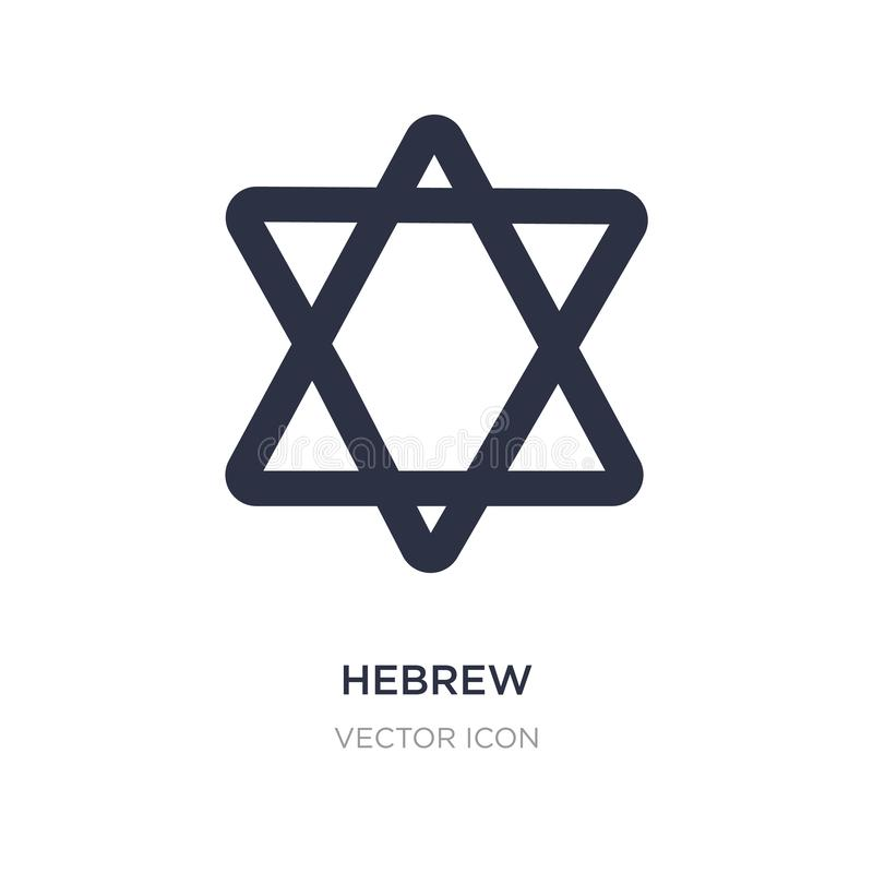 ícone hebreu no fundo branco Ilustração simples do elemento do conceito da religião ilustração stock