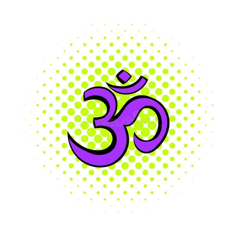 Ícone hindu do símbolo do OM, estilo da banda desenhada ilustração do vetor