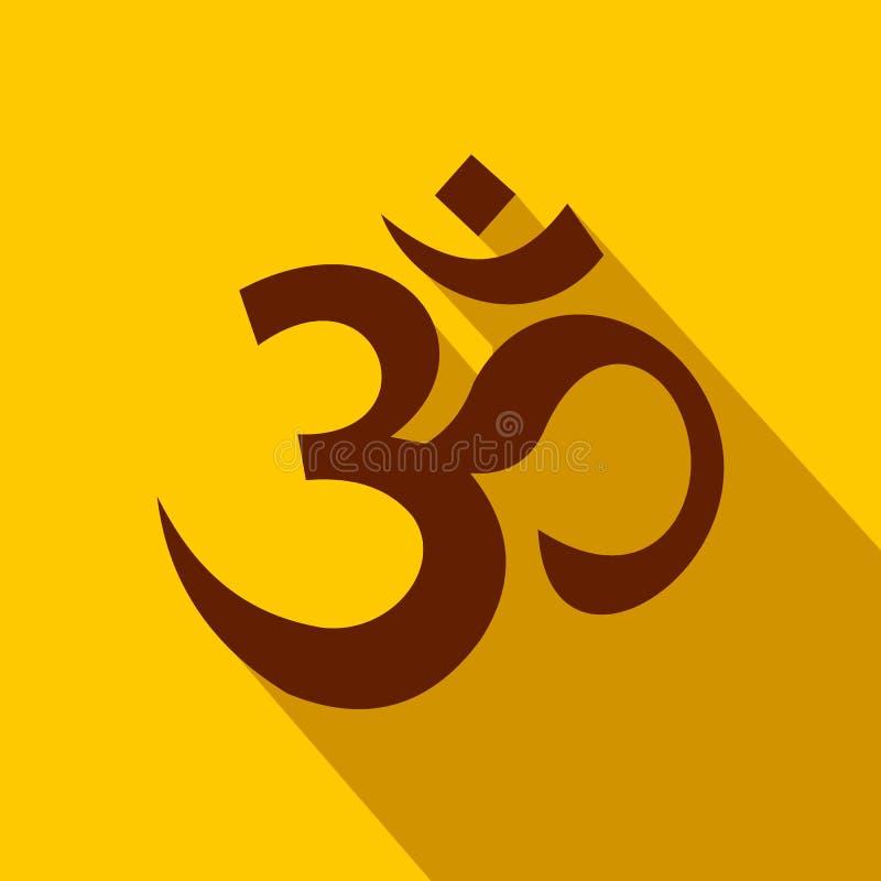 Ícone hindu do símbolo do OM, estilo liso ilustração royalty free