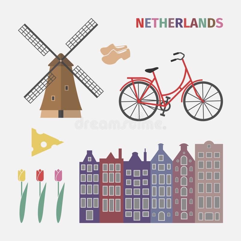 Ícone holandês ajustado no estilo liso ilustração royalty free