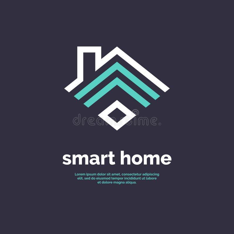 Ícone home esperto Sinal Wi-Fi do emblema ilustração do vetor