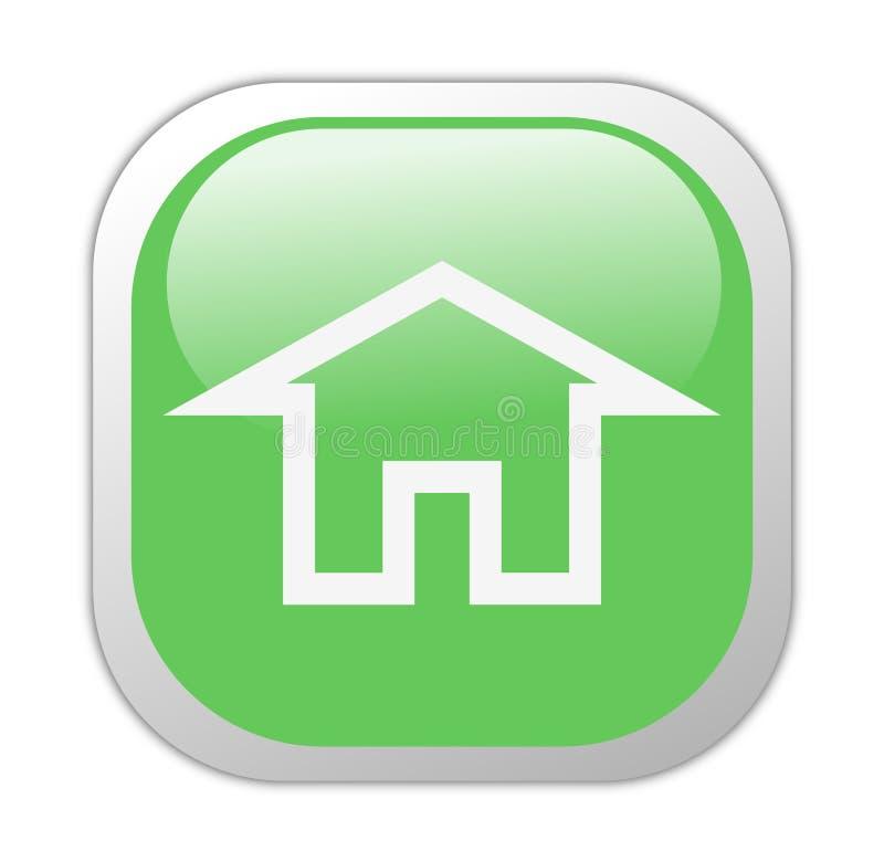 Ícone Home quadrado verde Glassy ilustração stock