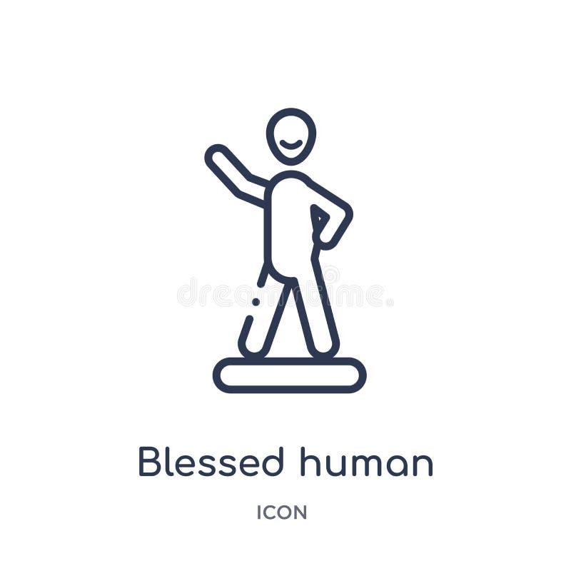 Ícone humano abençoado linear da coleção do esboço dos sentimentos A linha fina abençoou o vetor humano isolada no fundo branco b ilustração stock