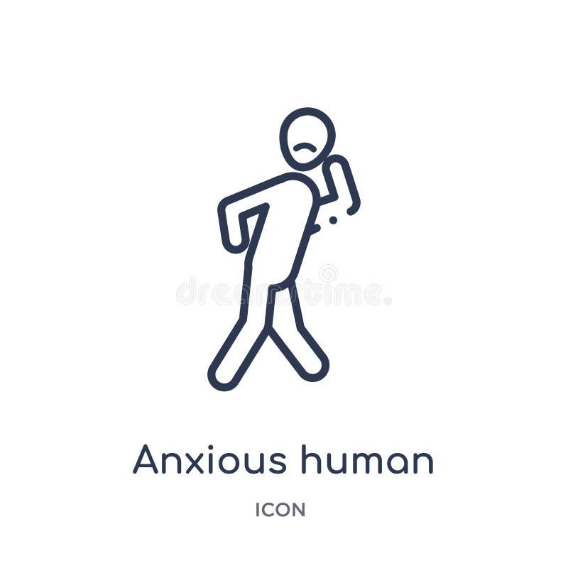 Ícone humano ansioso linear da coleção do esboço dos sentimentos Linha fina vetor humano ansioso isolado no fundo branco ansioso ilustração do vetor