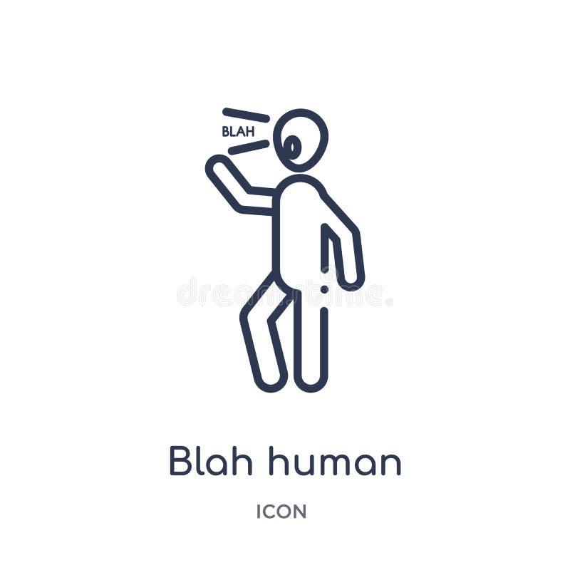 Ícone humano blá linear da coleção do esboço dos sentimentos Linha fina vetor humano blá isolado no fundo branco ser humano blá ilustração do vetor