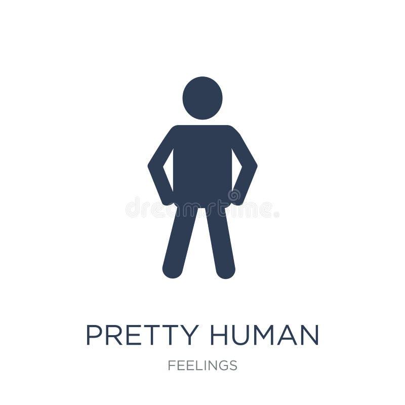 ícone humano bonito Ícone consideravelmente humano liso na moda do vetor no branco ilustração stock