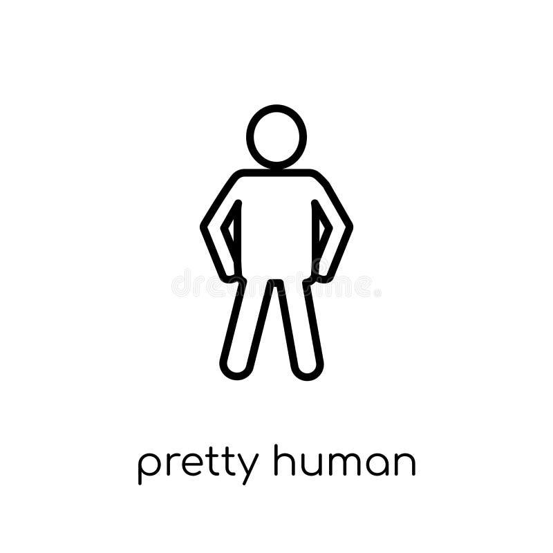 ícone humano bonito Vetor linear liso moderno na moda consideravelmente humano ilustração do vetor