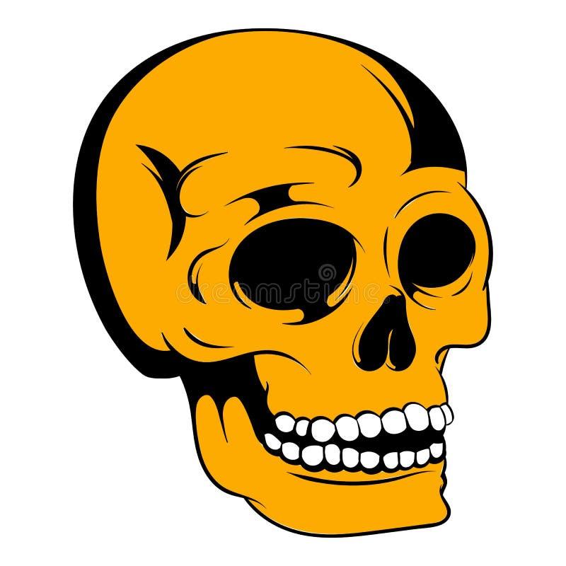 Ícone humano do crânio, desenhos animados do ícone ilustração royalty free