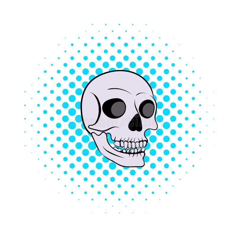 Ícone humano do crânio, estilo da banda desenhada ilustração stock