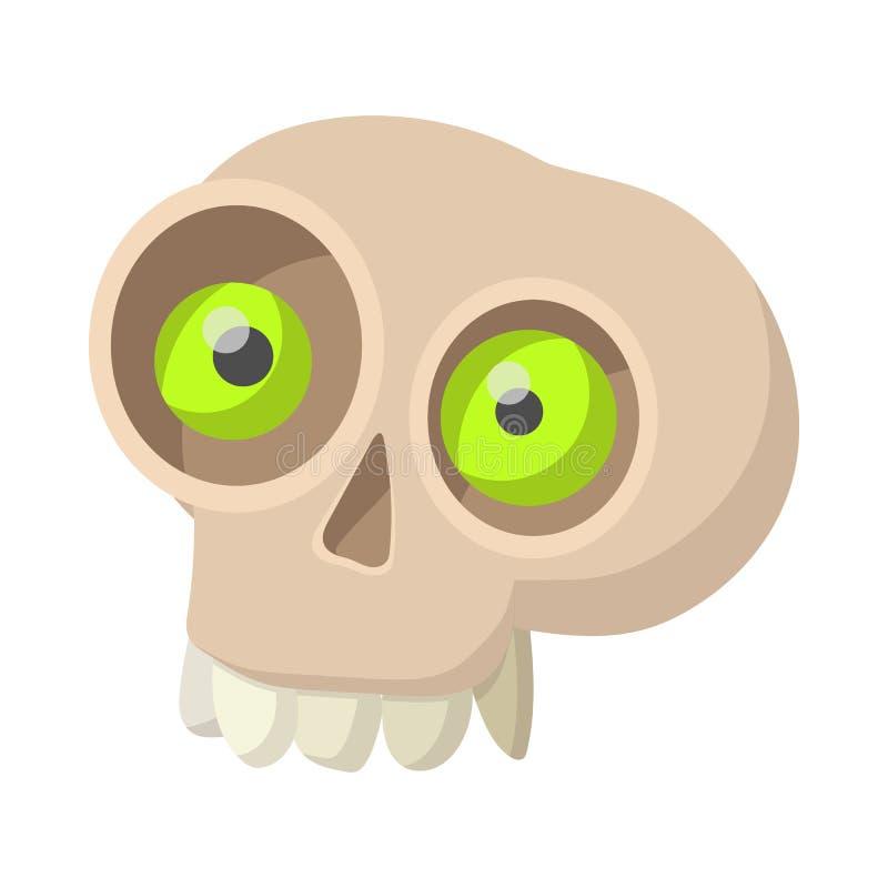 Ícone humano do crânio, estilo dos desenhos animados ilustração stock