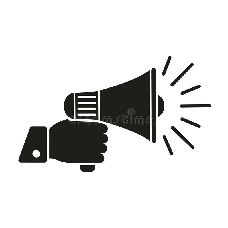 """Ícone humano do megafone da terra arrendada da mão, vetor do †do sinal do orador """" ilustração stock"""