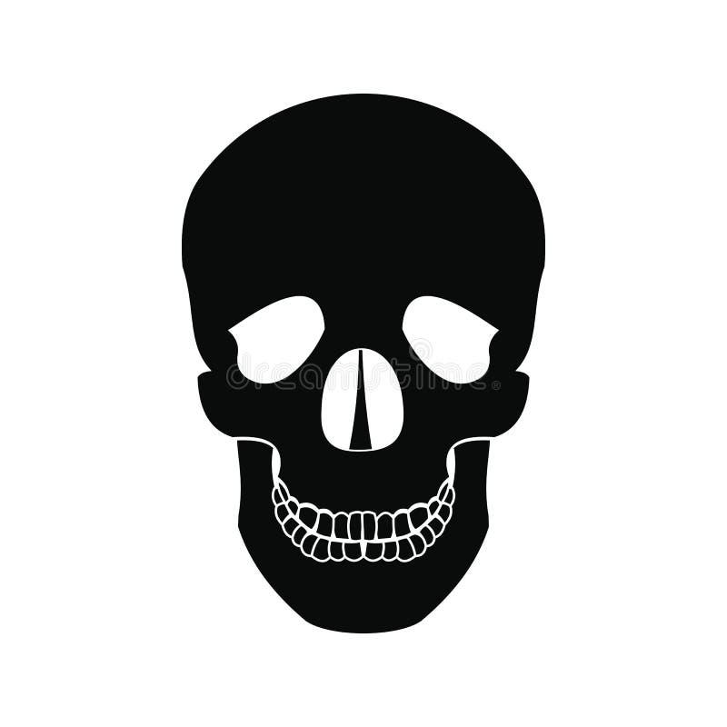 Ícone humano do preto do crânio ilustração royalty free