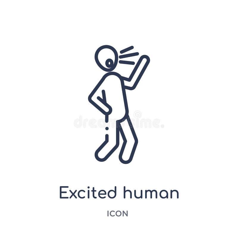 Ícone humano entusiasmado linear da coleção do esboço dos sentimentos A linha fina excitou o vetor humano isolada no fundo branco ilustração royalty free