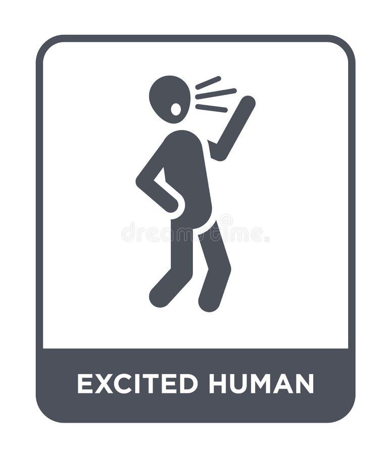 ícone humano entusiasmado no estilo na moda do projeto ícone humano excitado isolado no fundo branco ícone humano entusiasmado do ilustração royalty free