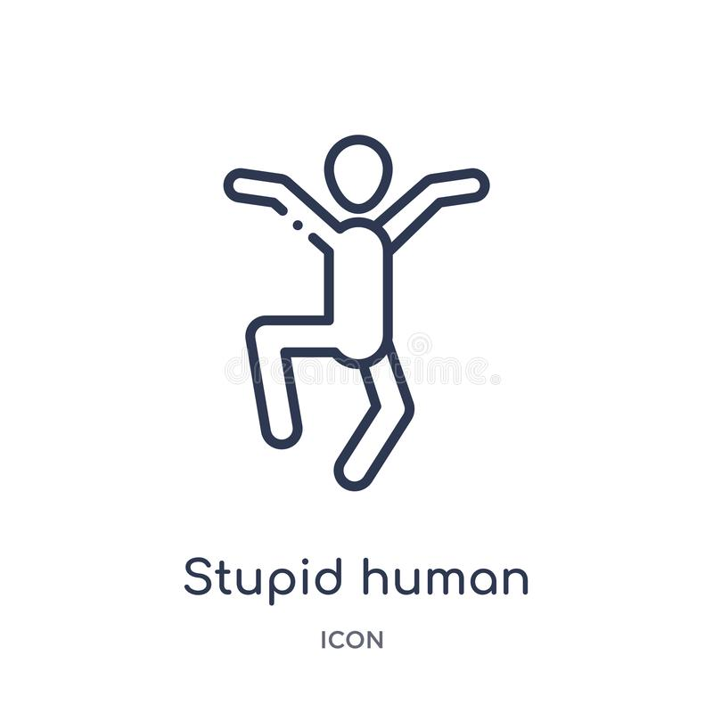 Ícone humano estúpido linear da coleção do esboço dos sentimentos Linha fina vetor humano estúpido isolado no fundo branco stupid ilustração do vetor