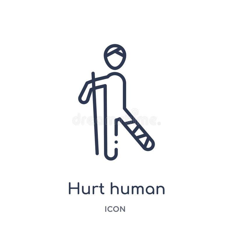 Ícone humano ferido linear da coleção do esboço dos sentimentos Linha fina vetor humano de dano isolado no fundo branco fira huma ilustração do vetor