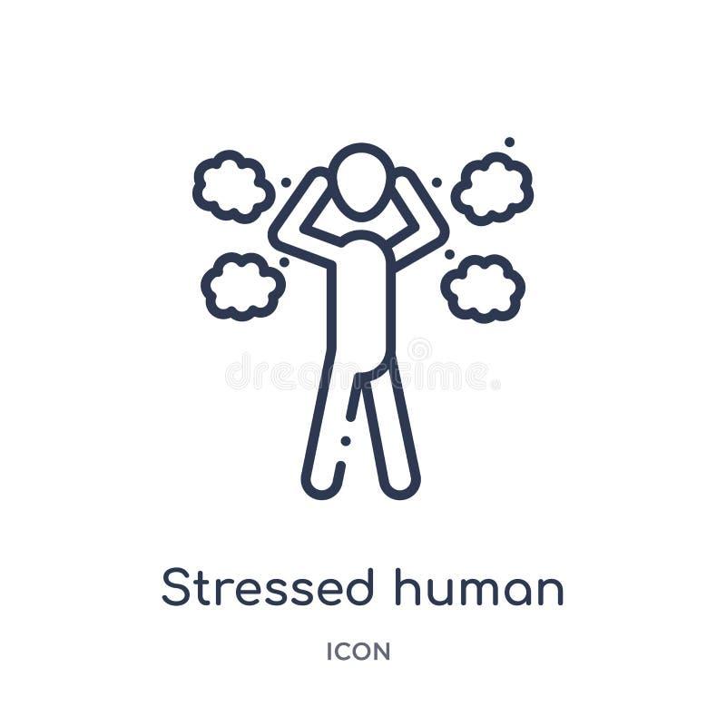 Ícone humano forçado linear da coleção do esboço dos sentimentos A linha fina forçou o vetor humano isolada no fundo branco ilustração do vetor