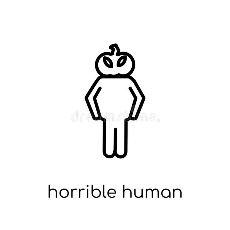 ícone humano horrível Vetor linear liso moderno na moda h horrível ilustração stock