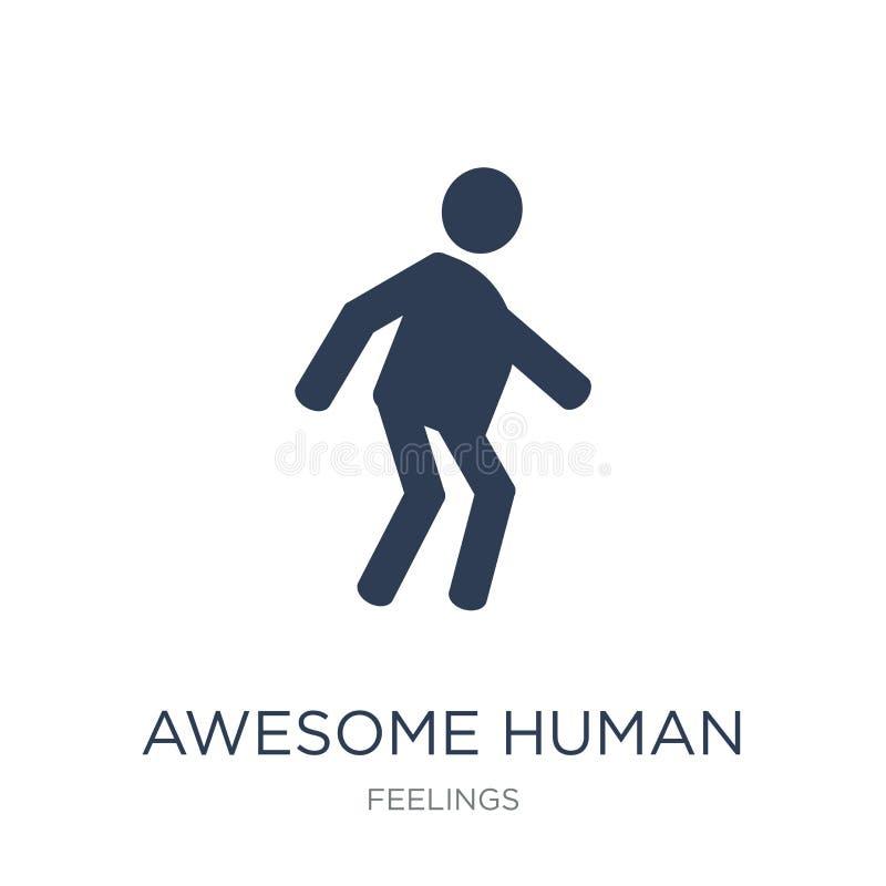 ícone humano impressionante Ícone humano impressionante do vetor liso na moda no whi ilustração royalty free