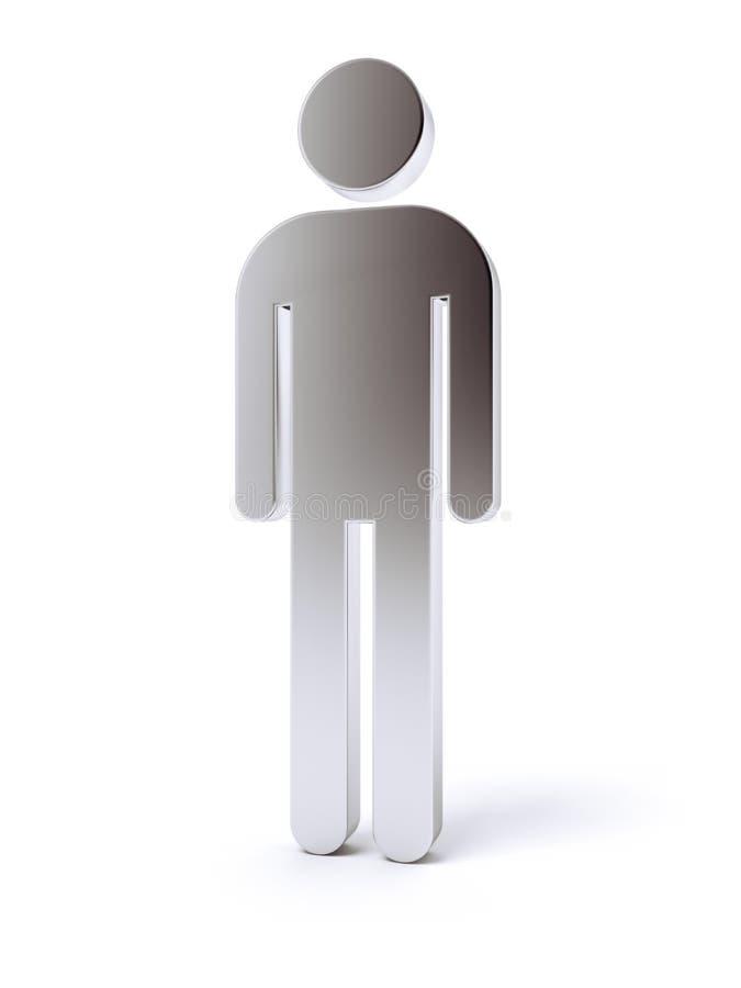 Ícone humano vazio de prata 3d ilustração royalty free