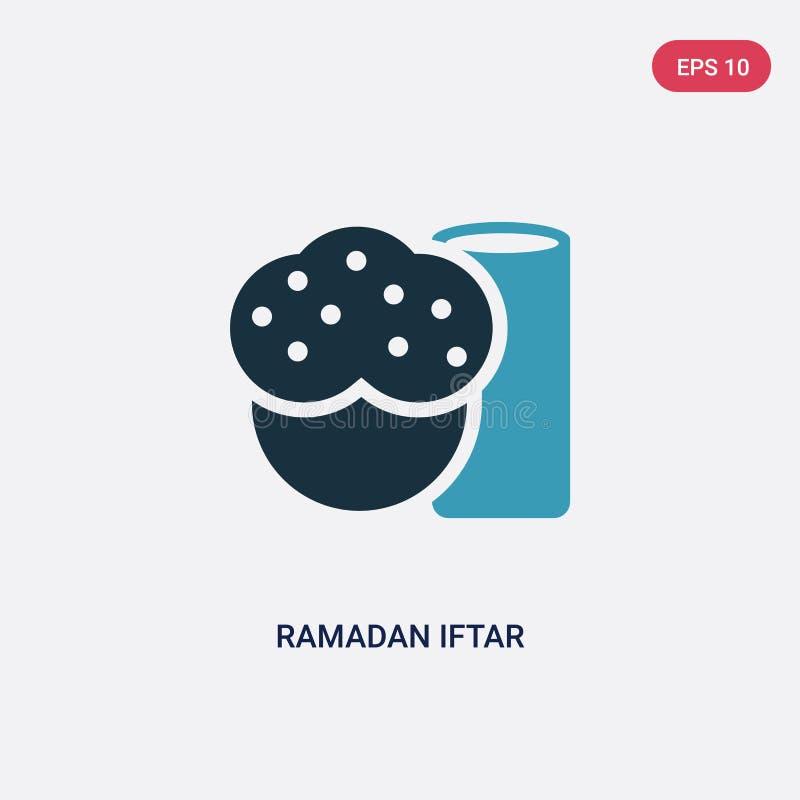 Ícone iftar de duas cores do vetor de ramadan do conceito religion-2 o símbolo iftar azul isolado do sinal do vetor de ramadan po ilustração do vetor