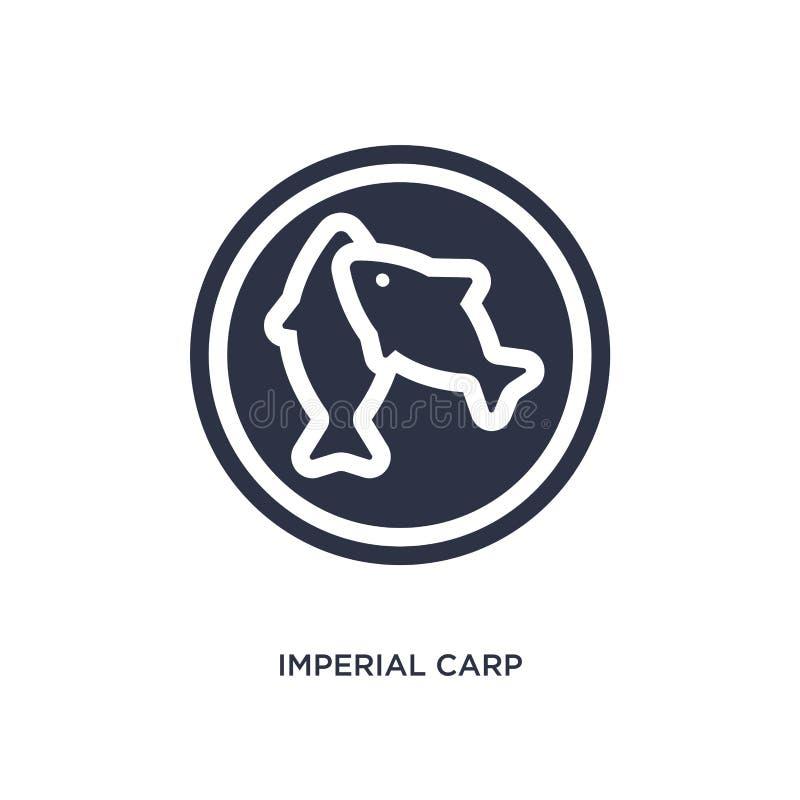 ícone imperial da carpa no fundo branco Ilustração simples do elemento do conceito da cultura ilustração stock