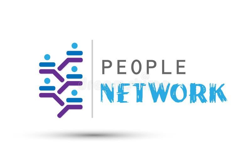 Ícone incorporado do logotipo do conceito do desenvolvimento do sucesso do grupo de trabalho da equipe da rede dos povos para o n ilustração do vetor