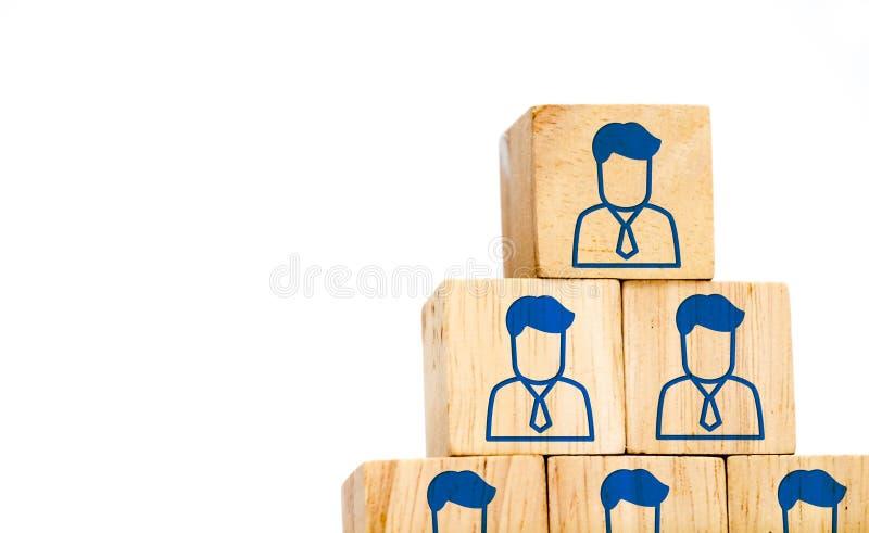 Ícone incorporado do perfil da hierarquia no cubo de madeira isolado no branco imagem de stock royalty free