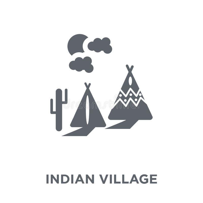 Ícone indiano da vila da coleção nativa americana dos sinais ilustração stock