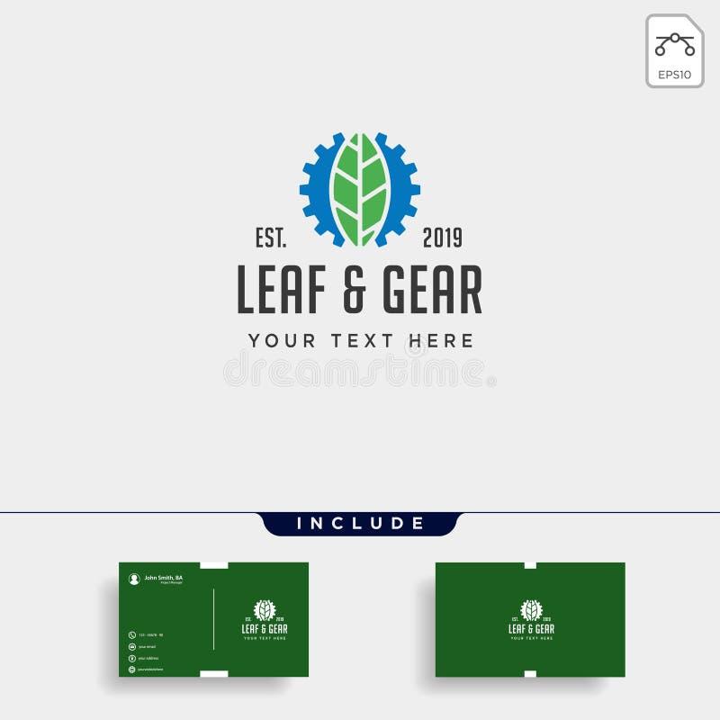 ícone industrial do vetor do ambiente do projeto do logotipo da folha da engrenagem ilustração stock