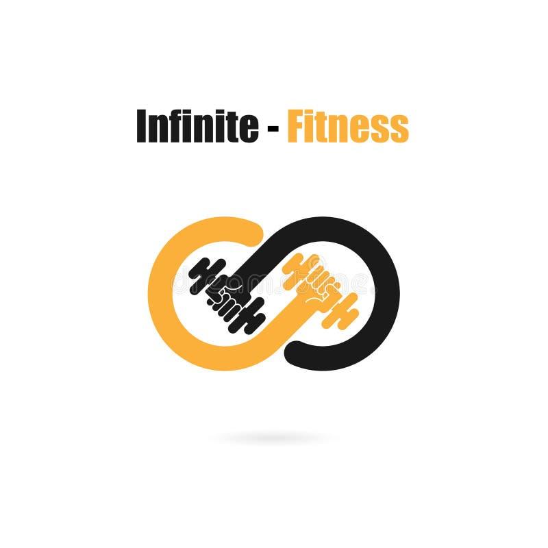 Ícone infinito do sinal e do peso Infinito, aptidão e logotipo do gym Hea ilustração do vetor
