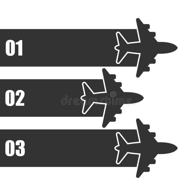 Ícone infographic do voo do avião no estilo liso Ilustração plana do vetor da bandeira do curso no fundo isolado branco airline ilustração stock