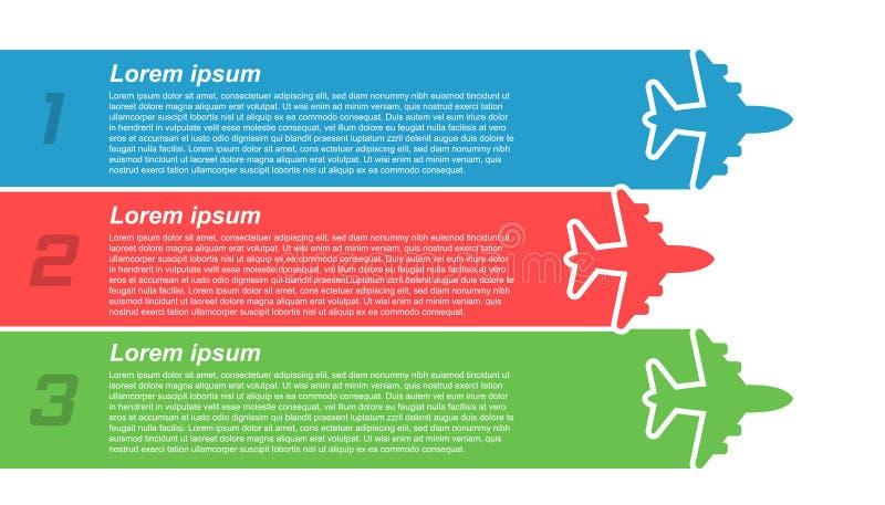 Ícone infographic do voo do avião no estilo liso Ilustração plana do vetor da bandeira do curso no fundo isolado branco airline ilustração do vetor