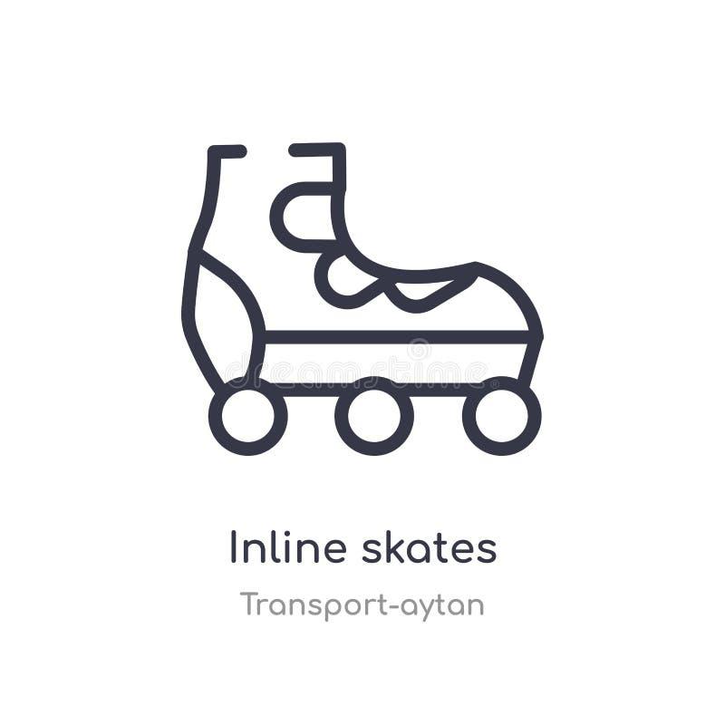 ícone inline do esboço dos patins linha isolada ilustra??o do vetor da cole??o do transporte-aytan patins inline do curso fino ed ilustração stock