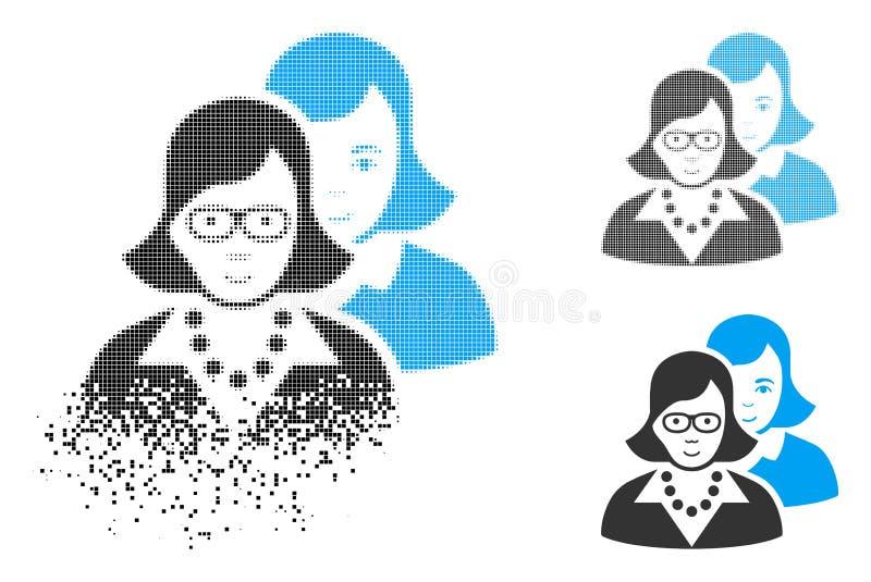 Ícone inteligente de intervalo mínimo dissolvido das mulheres do pixel com cara ilustração royalty free