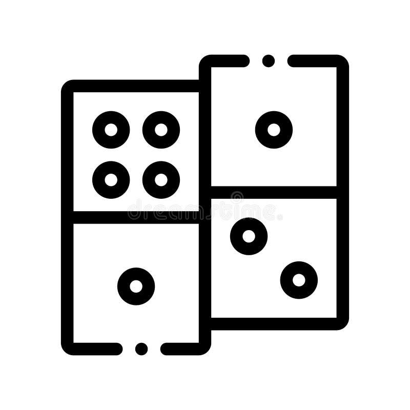 Ícone interativo do sinal do vetor dos dominós do jogo das crianças ilustração stock