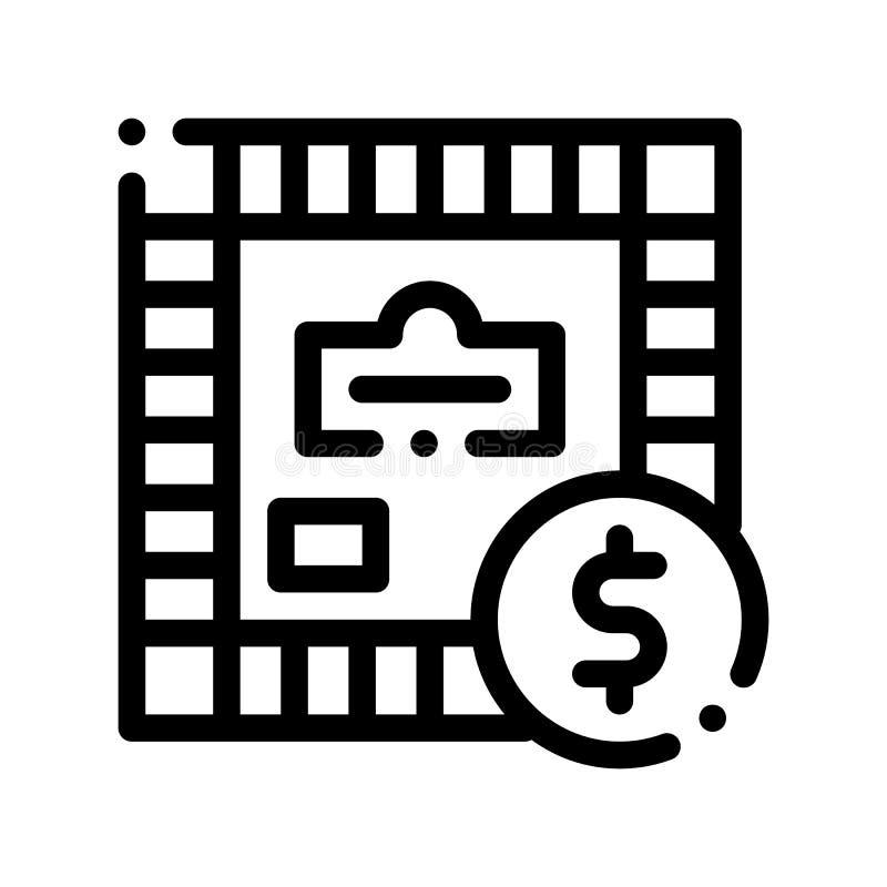 Ícone interativo do sinal do vetor do monopólio do jogo das crianças ilustração do vetor