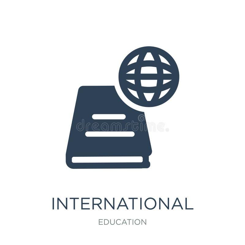 ícone internacional dos estudos no estilo na moda do projeto ícone internacional dos estudos isolado no fundo branco Estudos inte ilustração stock