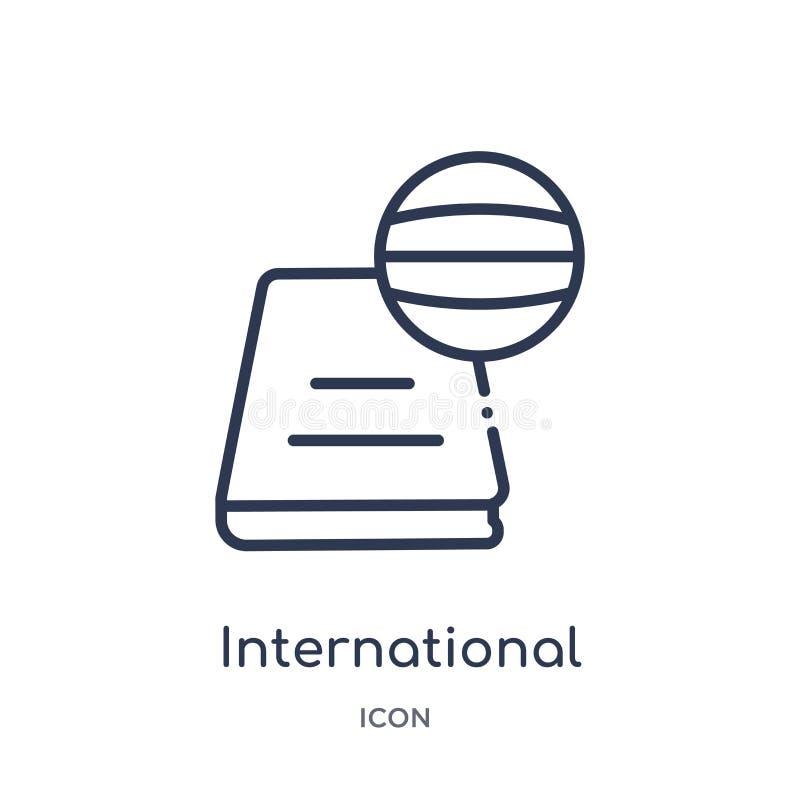Ícone internacional linear dos estudos da coleção do esboço da educação Linha fina ícone internacional dos estudos isolado no bra ilustração do vetor