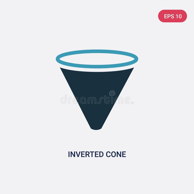 Ícone invertido de duas cores do vetor do cone do conceito das formas o símbolo invertido azul isolado do sinal do vetor do cone  ilustração do vetor