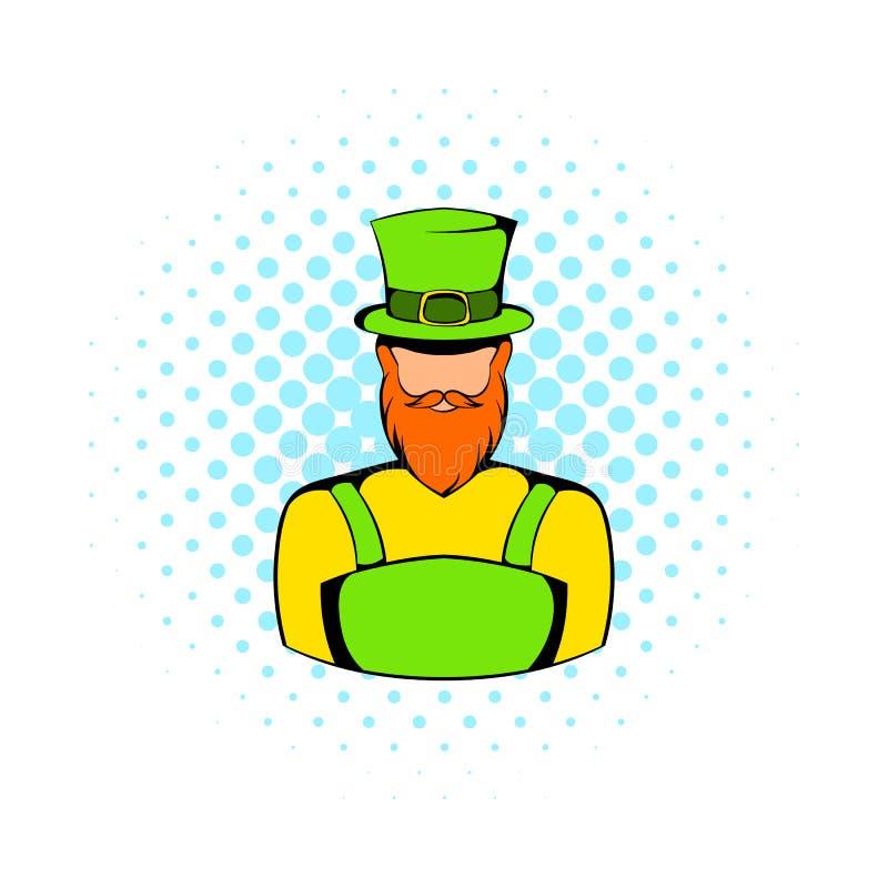 Ícone irlandês do duende, estilo da banda desenhada ilustração stock